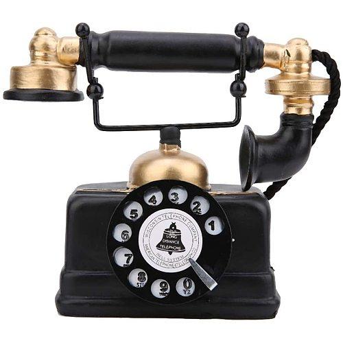 New Vintage Retro Antique Phone Wired Corded Landline Telephone Home Desk Decor Ornament Home Furnishing Decoration