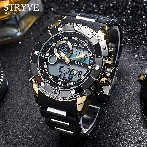 STRYVE Fashion Gold Men Watches Top Luxury Multifunction Sports Watch Man Quartz Analog Military Digital Male Clock Wrist Watch