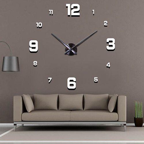 Top Fashion 3D Wall Clock reloj de pared Clock Watch DIY Acrylic Mirror Stickers Home Decor Living Room Quartz Needle Horloge