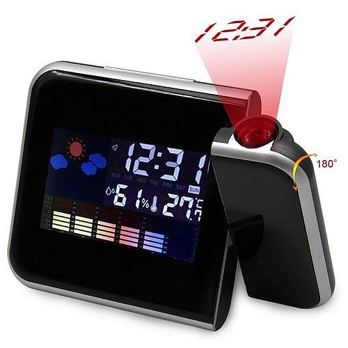 Square Snooze LCD Alarm Clock Backlight Calendar Temperature Color Screen Projection LCD Clock Creative Electronic Kids Clock