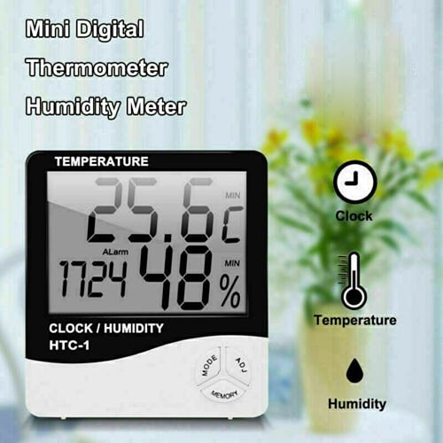 Lcd Electronic Digital Temperature Sensor Humidity Meter Cable Indoor Outdoor Thermometer Hygrometer Alarm Clock