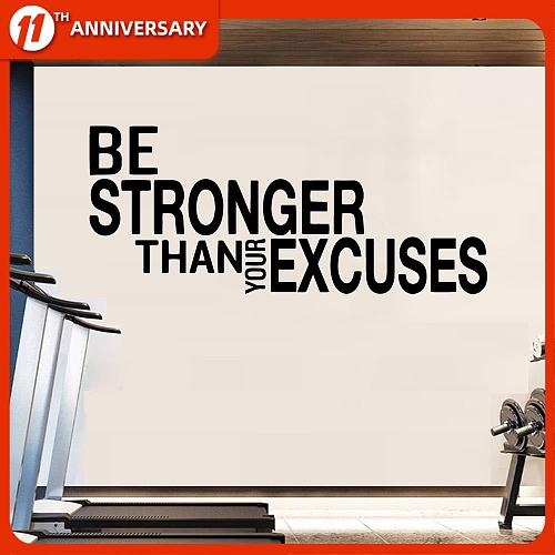 Be Stronger Than Your Excuses Quote Wall Sticker For Gym Classroom Motivational Inspirational Frase Wall Decal Fitness Crossfit