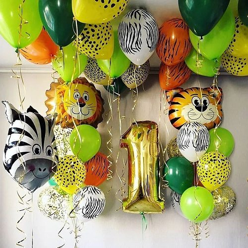 Baby Shower Jungle Animal Balloons Safari Theme Party Balloon Kids Birthday Party Decor Air Helium Globos Gold Foil Number Balls