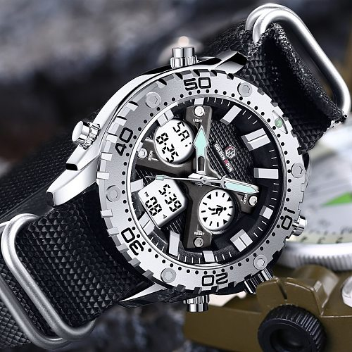GOLDENHOUR Fashion Outdoor Sports Men's Watch Army Military Canvas Analog Digital Wristwatch Dual Display Waterproof Clock