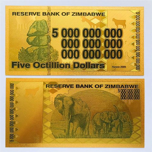 Zimbabwe Elephant Coin Fake Money Color Gold Foil Plastic Commemorative Prop Money Zimbabwe Gold Banknotes Decor Crafts