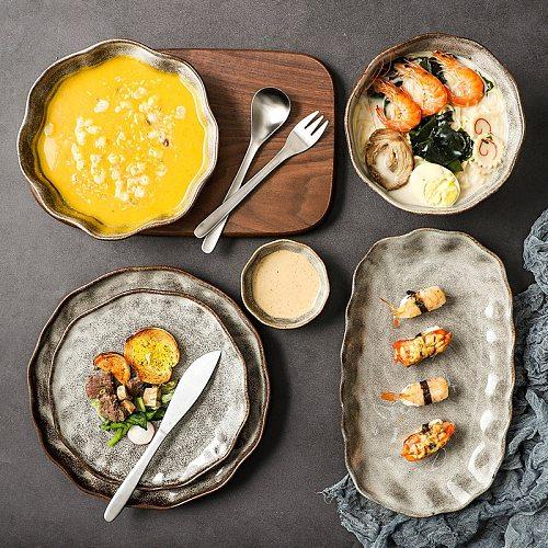 Ceramic Plates Set Dishes Bowl Tableware Vintage Japanese Style Cutlery Set Restaurant  Dinnerware Set Home Creative Plate Set