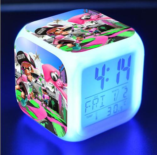 Splatoon Cartoon digital alarm clock electronic wake up light  Alarm Clock Kids Toys Led reloj despertador  table reveil wekker