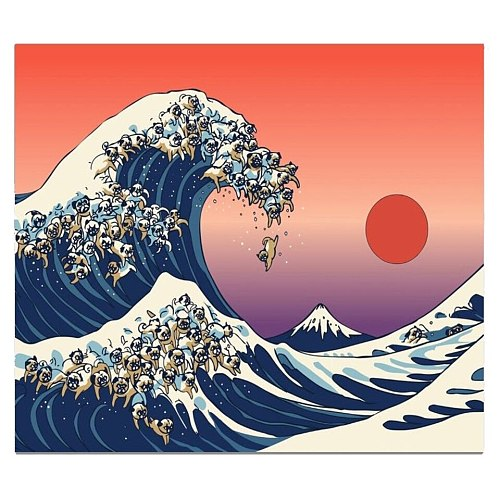 Sunset Waves Japanese Tapestry Wall Hanging Boho Decor Sun Mountain Nature Landscape Hippie Dog Dorm Mandala Wall Carpet Blanket