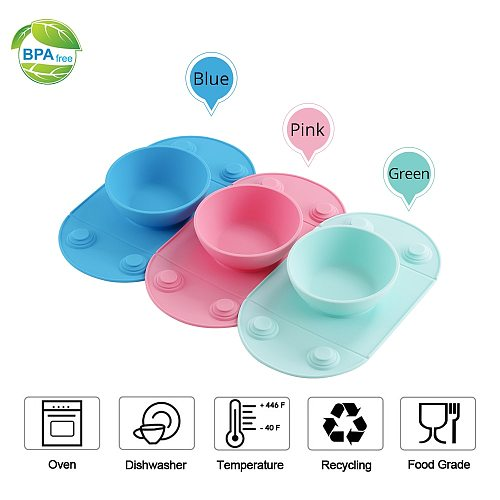 Baby Placemat Tableware FDA Food Grade Silicone Collapsible Children/Kid Feeding Plate 3 Color Baby Dishes Silicone Suction Bowl