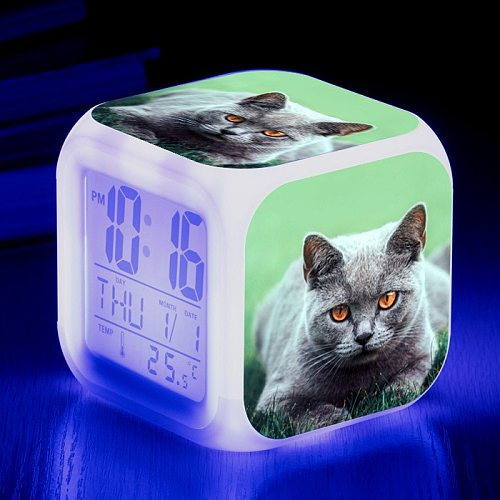 Cute Animal Cat print Colorful Four Square Alarm Clock Creative Small Alarm Clock Small Gift for Students and Children