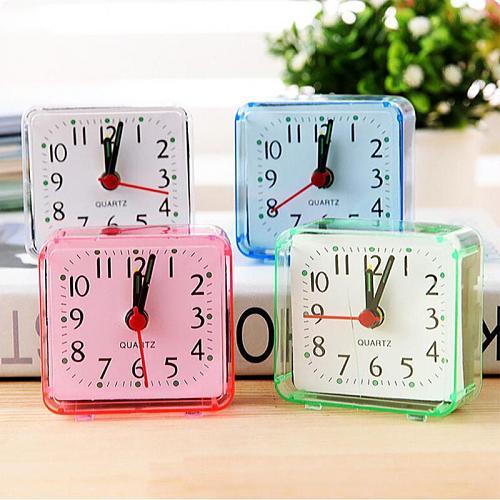Square Alarm Clock Quartz Beep Alarm Clock Cute Portable Bedroom Bedside Office Electronic Clock TXTB1