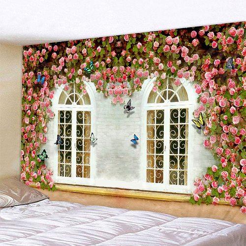 Flower Vine On The Window Print Wall Tapestry Cheap Hippie Wall Hanging Art Carpet Bohemian Decorative Living Room Big Blanket