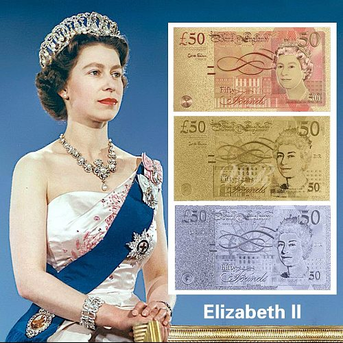 3 Color/Lot UK Pound 50 Banknote Gold&Silver&Colored Plated British Pound Items With Acrylic Banknote Case&Certification