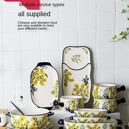 Chunrong Underglaze Porcelain Plate Dishes Household Soup Bowl Grilled Fish Dish Combination Set Dinner Plate Soup Plate