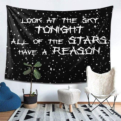 Astro World Lettersand Galaxy Tapestry Lil Peep Look At The Sky Hippie Tapestries Wall Hanging for Living Bedroom Room Décor