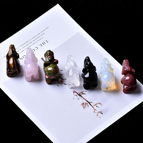 1PC Natural Rose Stone Obsidian Elephant Crystal Crafts Home Furnishings Lucky Items Aura Feng Shui Decoration