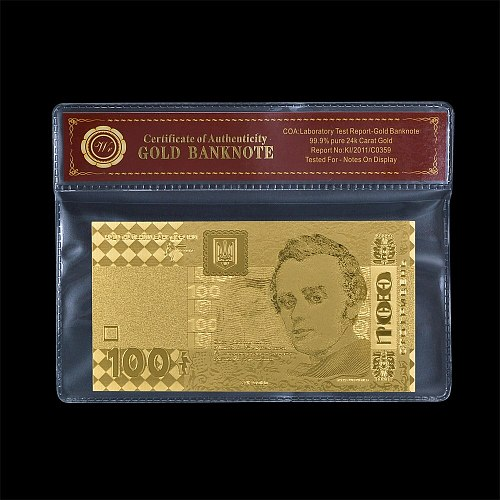 Rare Ukraine UAH 100 Gold Foil Banknote Fake Money Bill Non-curreny Banknotes Prop Money Commemoration Gift for Men