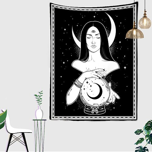 Psychedelic Woman Moon tapestry Flower Wall Hanging Room Sky Carpet Dorm Tapestries Art Home Decoration Tarot Tapestry