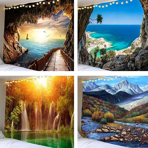 Beautiful Cave Waterfall Print Tapestry Beach Landscape Wall Hippie Tapestries Polyester Fabric Home Decor Rug Carpet Blanket