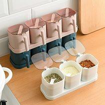 Plastic Seasoning Spice Storage Box Condiment Bottles Shaker Jars Organizer Nordic Cooking Herbs Toothpick Holder