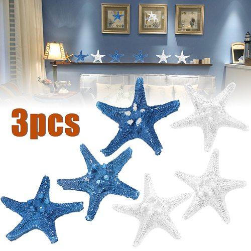 3pcs Mediterranean Sea Star White/Blue Resin Starfish Home Table Display Craft Wedding Decorative Ornament