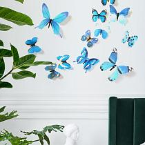 Free Shipping 12pcs/set PVC 3D Butterfly Wall Decor Cute Butterflies Wall Stickers Art Decals Home Decoration Room Wall Stickers