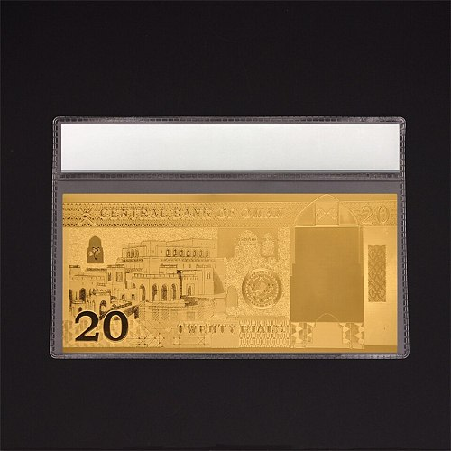 Oman Gold Banknote 20 Omani Rial 24k Pure Gold Plated  Paper Money  Souvenir Gift Bill Collection