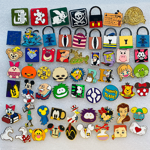 1PCS Disney Exchange Badge Children's Adult Clothing Decorative Badge with Lanyard Pins for Backpack Kawaii Badges for Clothes