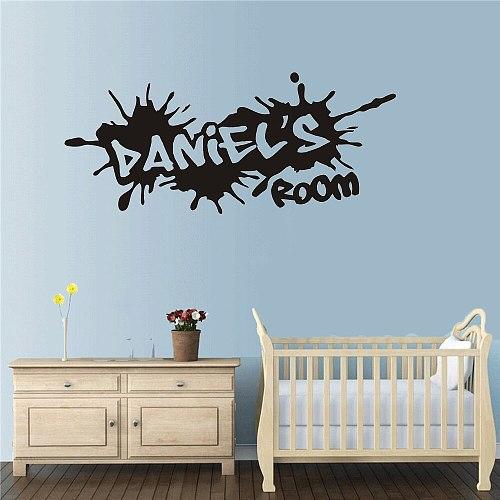 Custom Name Graffiti Street Culture Wall Sticker Boy Room Nursery Personalized Name  Wall Decal Bedroom Vinyl Decor PW493