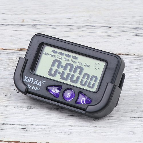 Car Electronic Digital Clock Second Chronograph With LCD Display Black (With 1 Button Battery)