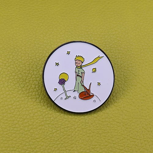 The little prince with cute fox badge galaxy planet pins simple art jewelry kids gift
