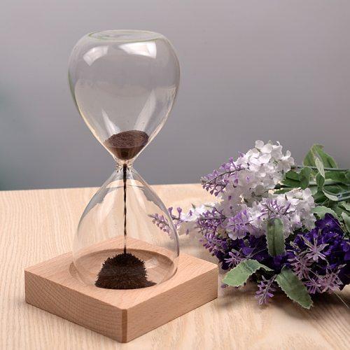 Free ship 1Pcs Awaglass Hand-blown Timer clock Magnet Magnetic Hourglass ampulheta crafts sand clock hourglass timer Christmas