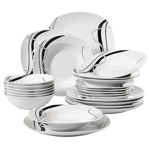 VEWEET FIONA 24-Piece Ceramic Black Plate Combi-Set Porcelain Tableware Set of Bowls/Dessert Plates/Soup Plates/Dinner Plates