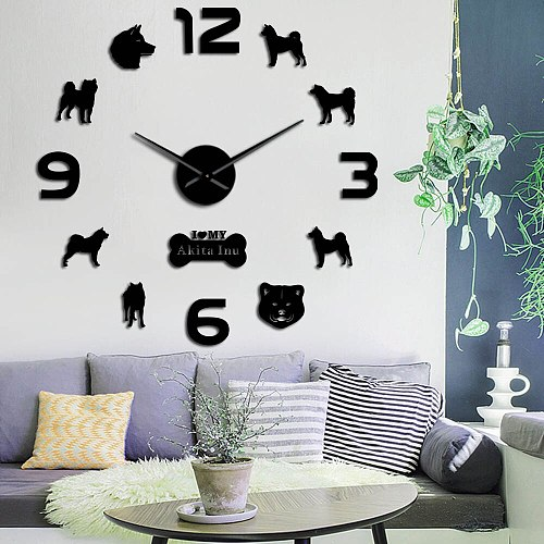 Lovely Akita Inu Dog Breed Large DIY Wall Clock Japanese Akita Great Japanese Puppy Pet Dog 3D DIY Creative Wall Sticker Clocks