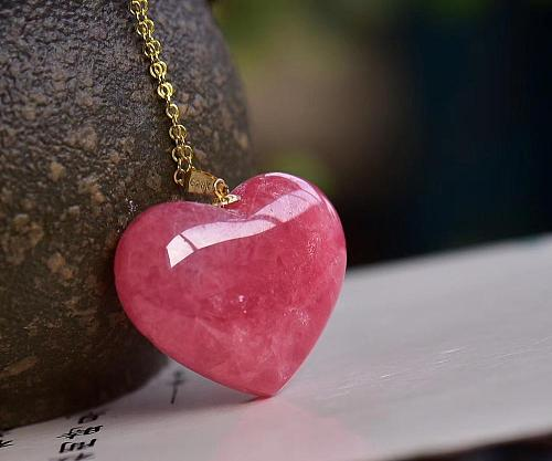 Natural Ice Red Rhodochrosite Necklace Pendant 26x23x8mm Heart Love Stone Women Men For Love Reiki Anniversary Gift AAAAA