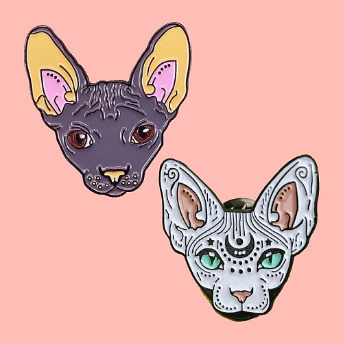 Mystical Sphynx Cat Enamel Brooch Pins Badge Lapel Pins Alloy Metal Fashion Jewelry Accessories Gifts