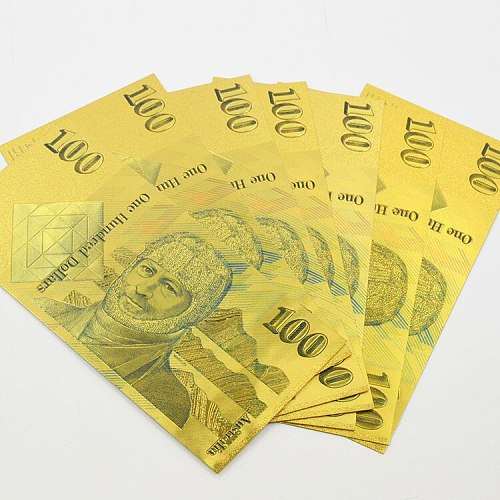 10pcs WR Old AUD 100 Gold Banknote Fake Money Non-currency Bills Australia 100 Dollar Banknotes Prop Money for Gift Collection