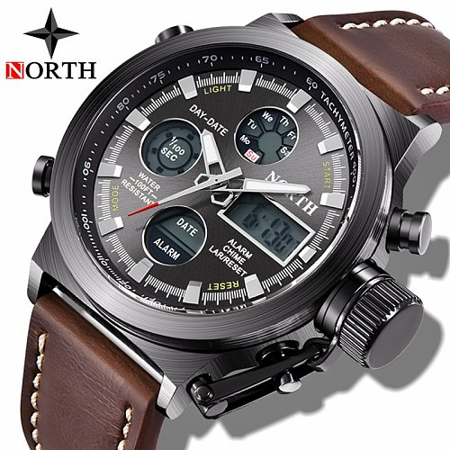 NORTH Men Watch Leather Waterproof Quartz Watches Men Analog Digital Watch Male Clock Military Sport Watches Relogio Masculino