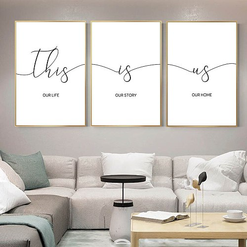Family Quotes Text Canvas Painting Letter Art Calligraphy Poster Minimalist Print Decorative Wall Picture for Living Room Decor