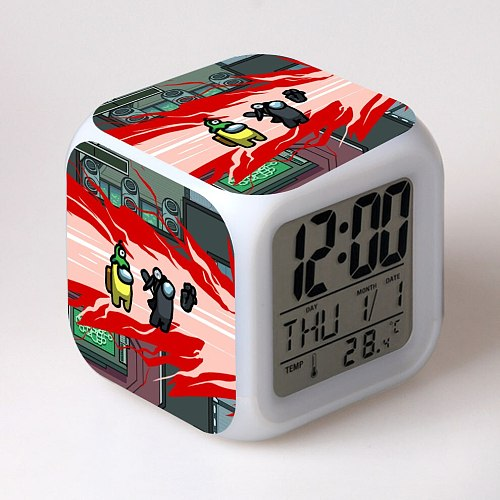 Game  alarm clock LED colorful luminous clock can be customized drawings sent to the battery