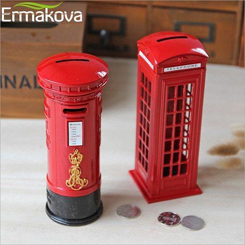 ERMAKOVA Metal London Telephone Booth Postbox Money Box Retro England Phone Figurine Piggy Bank Coin Bank ChildGift Home Decor