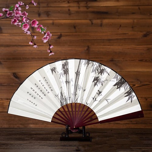 1Pc Retro Folding Silk Fan Chinese Style Decorative Men Pocket Bamboo Handle Hand Fan chinese folding hand fan large fan 33cm