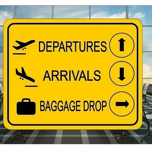 Airport Boarding Departure Baggage Gate Metal Sign Wall Decor Airplane Sign Plaque