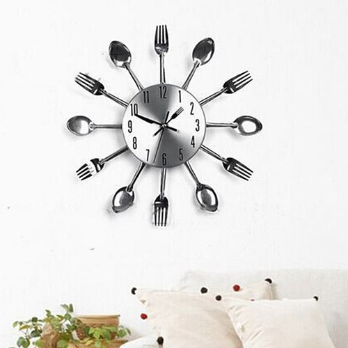Stainless Steel Knife Fork Spoon Kitchen Restaurant Wall Clock Home Decoration Wall Clocks Multifunctional Tools