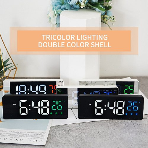 Creative Mirror Alarm Clock Table Ornaments Display Date Temperature Bedroom Desktop Silent LED Electronic Clock Home Decoration