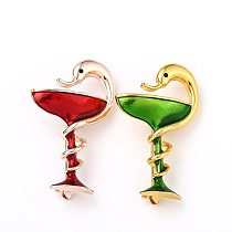 Painting oil snake Cup Enamel pins Brooch Rose Gold Red Green Medical Symbol metal brooches Badges Jewlery gifts