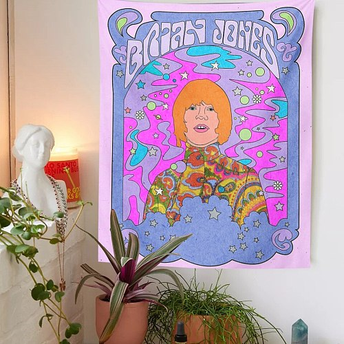 BRIAN JONES Tapestry Wall Hanging 90s Aesthetic Room Decor Pink Punk Hippies Wall Tapestry Girls Dorm Room Small Size Wall Art