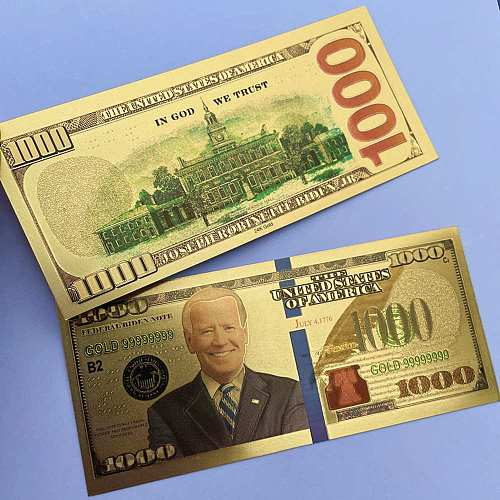 10pcs Joe Biden Commemorative Coin US President Banknote Non-currency $1000