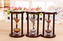 1PC Retro Hourglass Sandglass Sand Clock Timers Wooden Frame Creative Gift Modern Home Decorations Ornaments KN 055