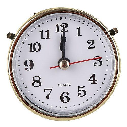 Classic Mute 2-1/2  (65mm) Clock Clock Quartz Mechanism Movement Insert Roman Numeral White Face Gold Trim Practical DIY Parts
